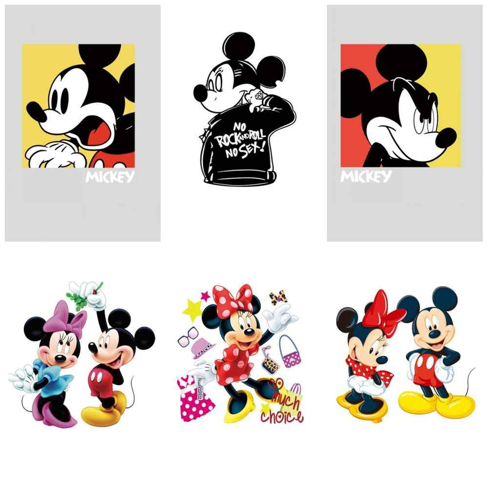 1 Pcs Mickey Minnie Seri Ikon Lucu Patch Karakter Kartun Stiker Transfer Panas Bordiran DIY T-shirt Aksesoris