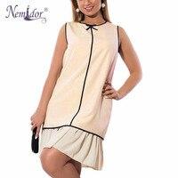 Nemidor 2017 New Arrival Women Plus Size Sleeveless Patchwork Casual Dress Elegant O Neck Summer Mini