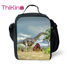 Thikin Dinosaur Lunch Bag for Boys Tyrannosaurus Small  Tote Shoulderbag Students Picnic Pouch Storage Messenger Box