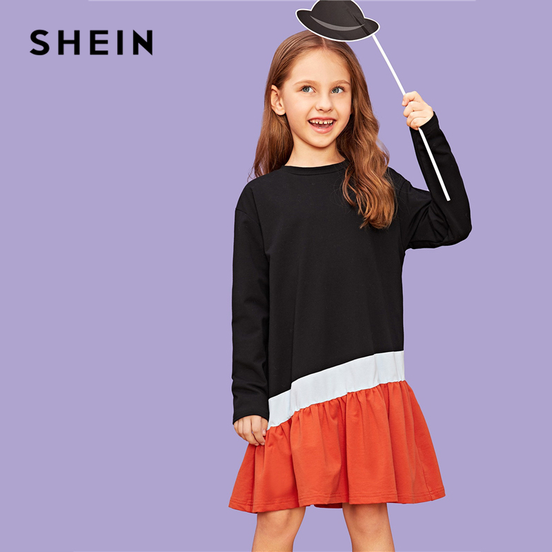 SHEIN Kiddie Cut and Sew Colorblock Shift Party Girls Dress 2019 Spring Long Sleeve Casual Midi Kids Dresses For Girls Clothes