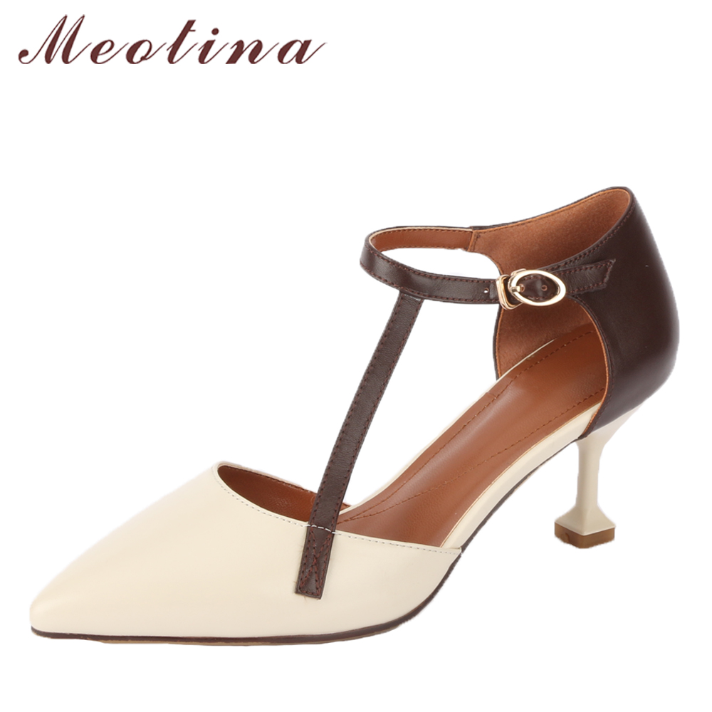 Meotina Genuine Leather Women Pumps T Strap High Heels Pointed Toe Kitten Heel Party Shoes New Female Pumps Beige Big Size 33-41 meotina genuine leather women shoes female plaid party shoes block heel bow strap high heels kid suede ladies pumps 2018 spring
