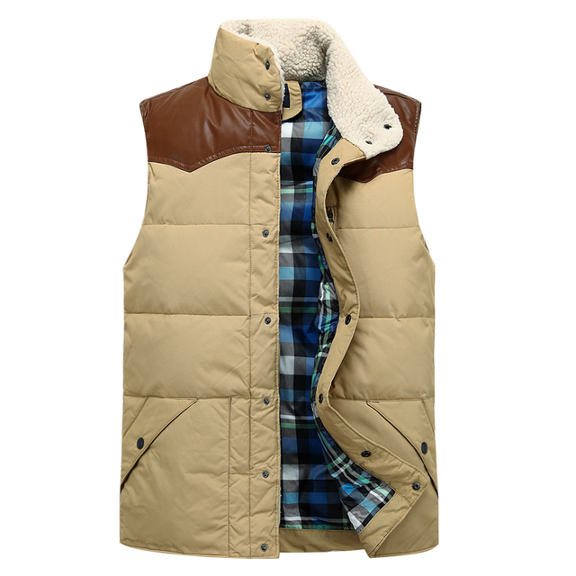 2016 Autumn and Winter Men's Casual Stand Collar Down Vest Single Breasted Waistcoat Thickening Down Vest Male