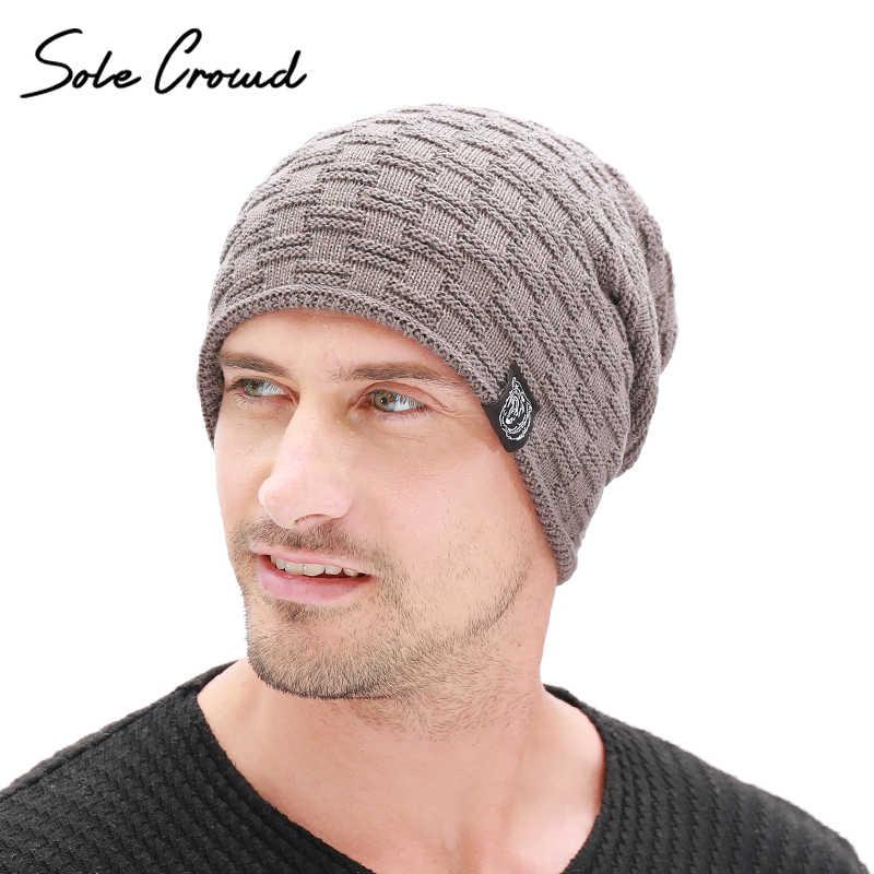وحيد الحشد موضة ملصق ملابس Skullies Beanies الرجال الشتاء زائد المخملية سميكة القبعات الدافئة محبوك قبعات للرجال Bonnet جودة عالية
