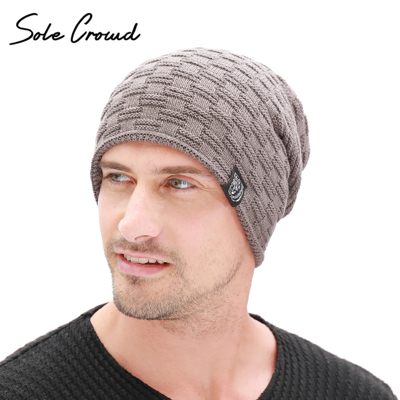 Sole Crowd Fashion Cloth Label   Skullies     Beanies   Men Winter Plus Velvet Thick Hats Warm Knitted Caps For Men Bonnet High Quality