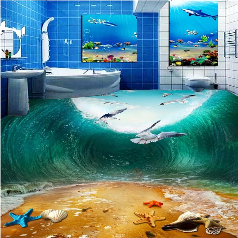 beibehang Customize any size fresco shock waves seabirds beach toilets bathroom bedroom 3d floor photo wallpaper free shipping shockwave seabirds beach