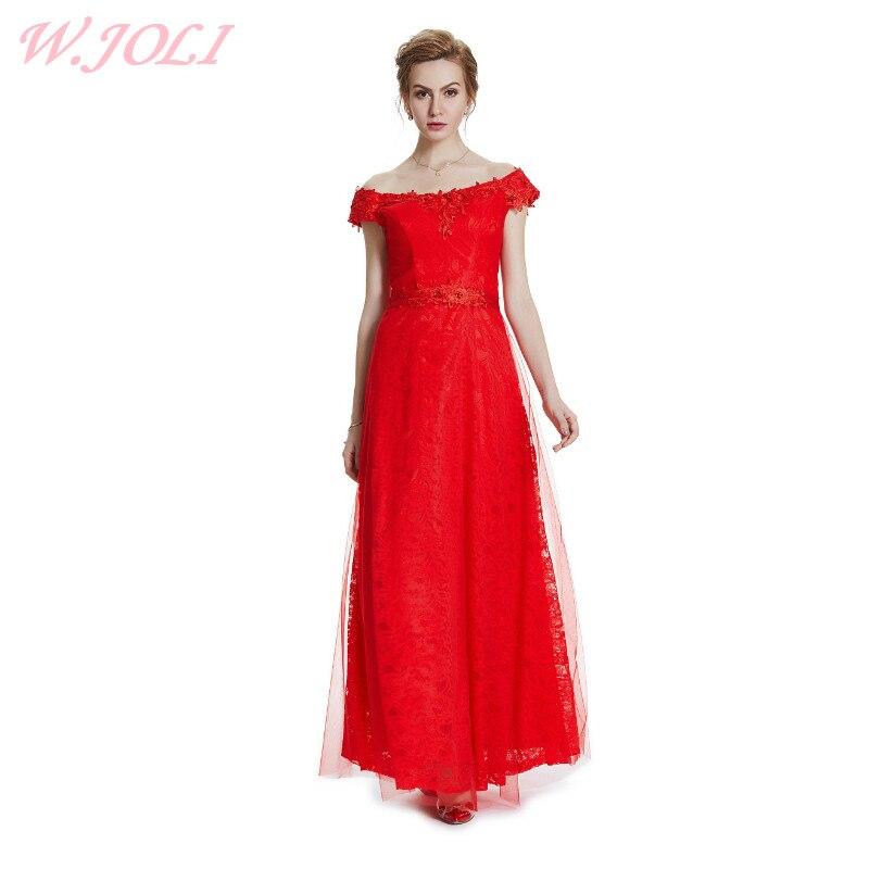 0ef8dc188d4e W.JOLI Νέο κόκκινο λουλούδι εφαρμογές φόρεμα το βράδυ 2017 νύφη ...