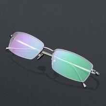eab66a4f1 Ultra light titanium templo Meia borda óculos frames homens elástico fino  masculino espetáculo óptico óculos de leitura óculos f.