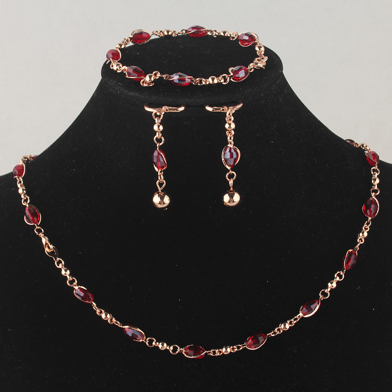 New Fashion Women's Gold-color Red Austrian Crystal Necklace Bracelet Earrings Bridal Jewelry Sets Gift Free Shipping