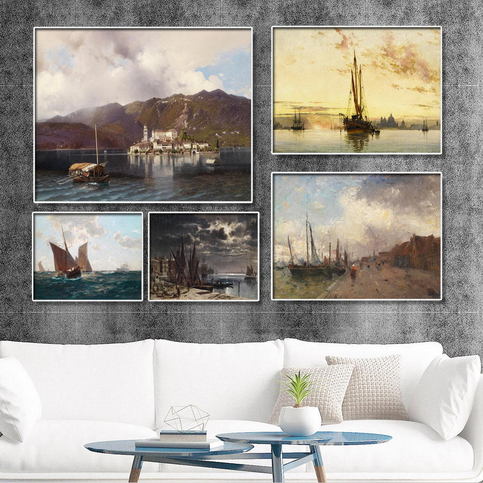 Us 3 6 40 offhome decoration print canvas wall art picture paintings horizontal rectangle oil drawings yacht docks for living room in painting