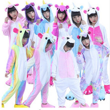 New Winter Children Kids Unicorn Pajamas Animal Pajama Sets Cartoon Pyjamas Rainbow Star Hooded Sleepwear Nightwear Girls Boys