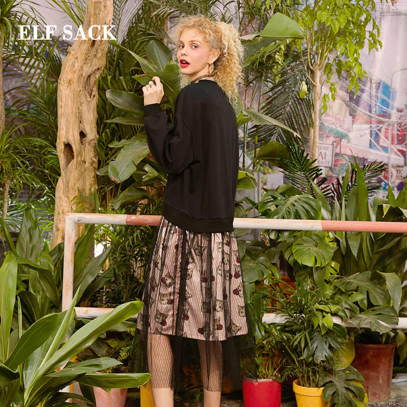 ELFSACK 2019 אביב חדש כותנה אישה שמלת וינטג מלא טבעי אונליין נשים שמלת O-צוואר גדול פרחוני גבירותיי Vestidos