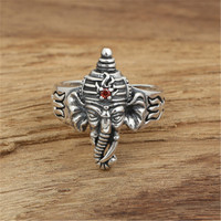BESTLYBUY 100% Real Pure 925 Sterling Silver Ganesha Rings For Men Vintage Style India Elephant With Crown Animal Male Jewelry