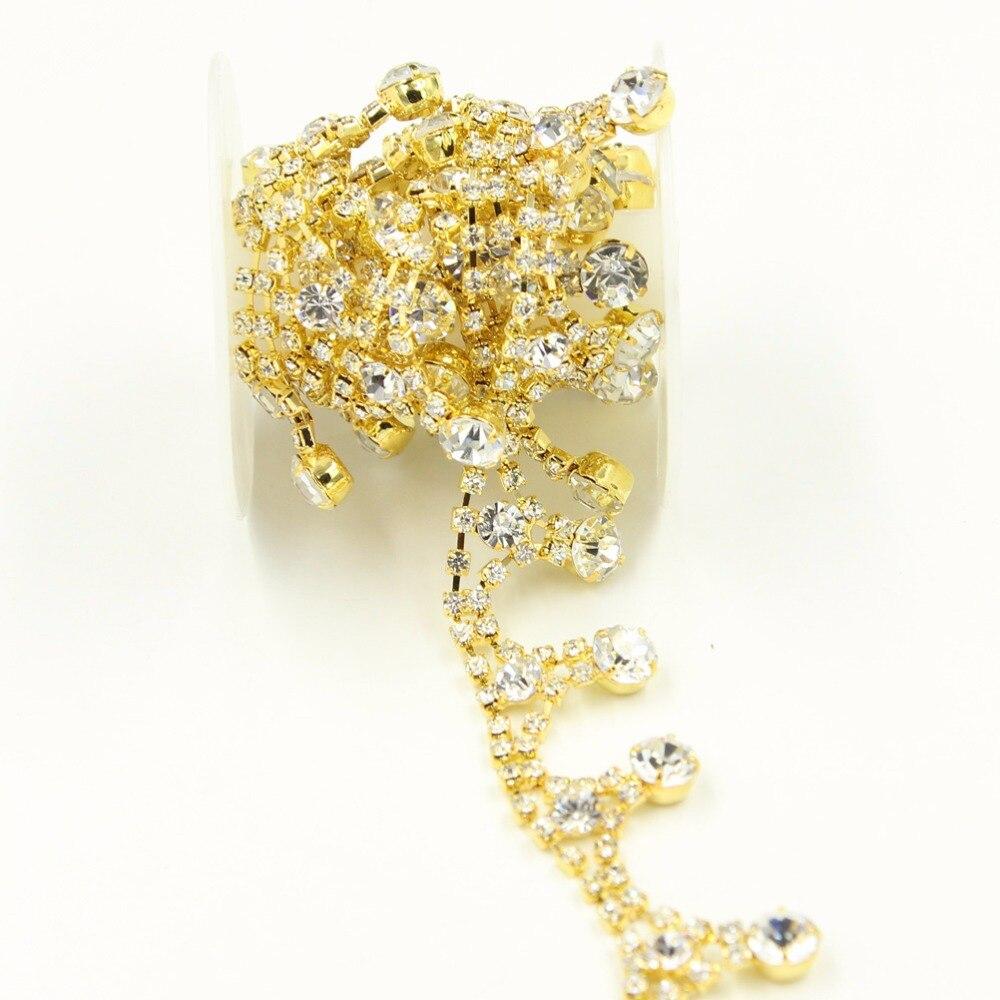 Aliexpress Com Buy 1440pcs Gold Bottom Crystal Clear: 2 Yards Gold Rhinestone Trim Tassel Clear Crystal Strass