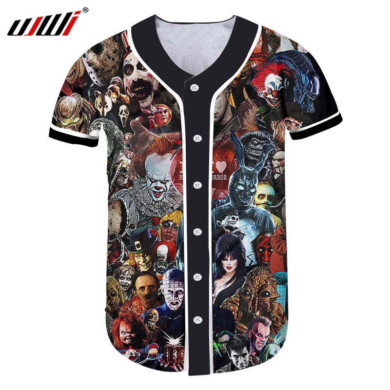 UJWI homme crâne horreur masque Baseball chemise hommes 3D Harajuku surdimensionné T-shirt imprimé dessin animé Fitness T-shirt