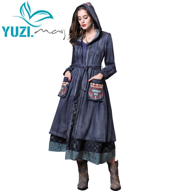 Trench Coat 2018 Yuzi may Boho New Denim Coat Women Long Lantern Sleeve Hodded Bleted Coat
