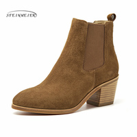 Women Winter Snow Boots Genuine leather Ankle Spring cheleas heel boot woman Short Brown Boots 2019 for women boots