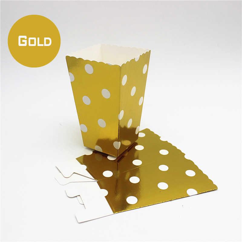Decoração Do Casamento de Mini Caixas de Pipoca pçs/lote 12 Polka Dot Candy Buffet Favor Sacos de Papel Do Partido Filme Home Fontes Do Chuveiro de Bebê