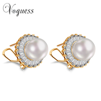 VOGUESS Noble Shaped Synthetic Pearl Earrings French Clip Stud Earrings Semi Joias New Champagne Gold Plated