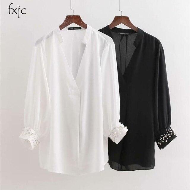 58a275be51 De las mujeres de moda perlas decoradas mangas camisa blanco y negro suelta  v-cuello