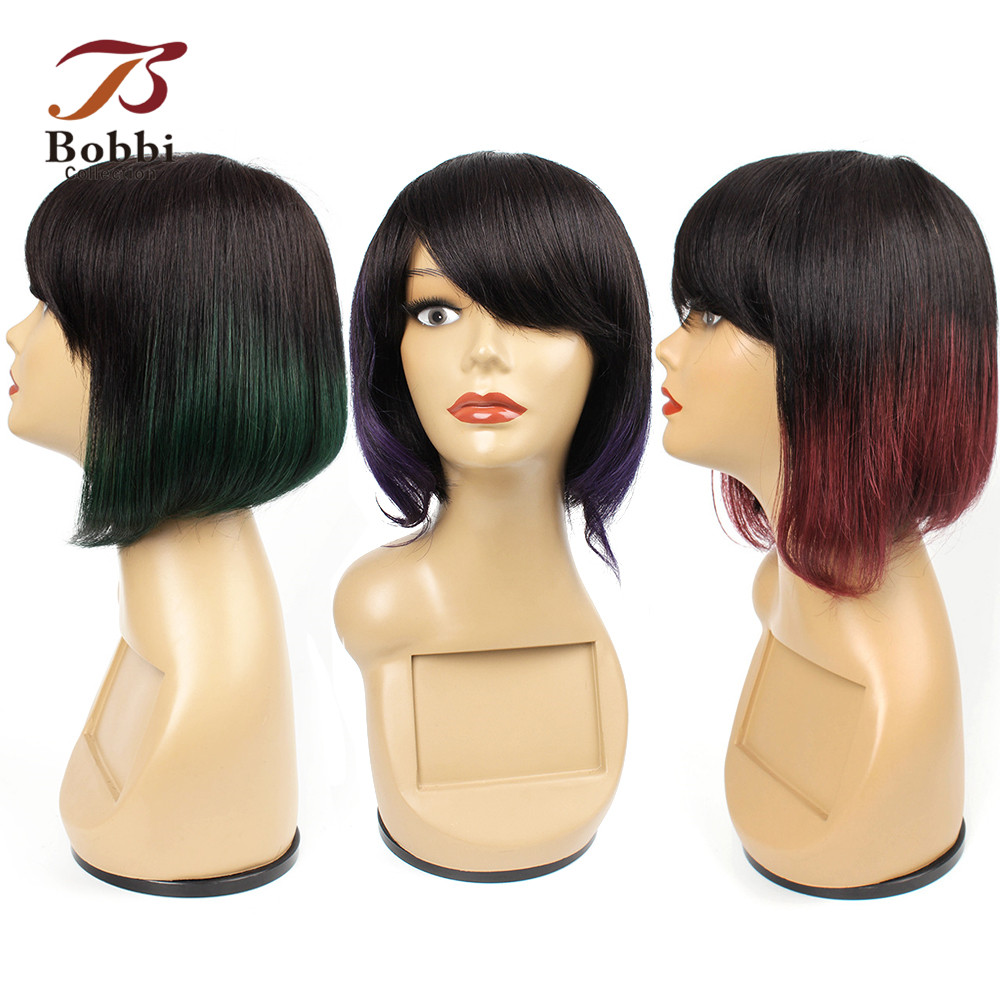 Bobbi Collcetion Human Hair Wig With Bang Ombre Green Purple Red Ends Machine Made Wig Lace Crown Brazilian Remy Short Bob Hair