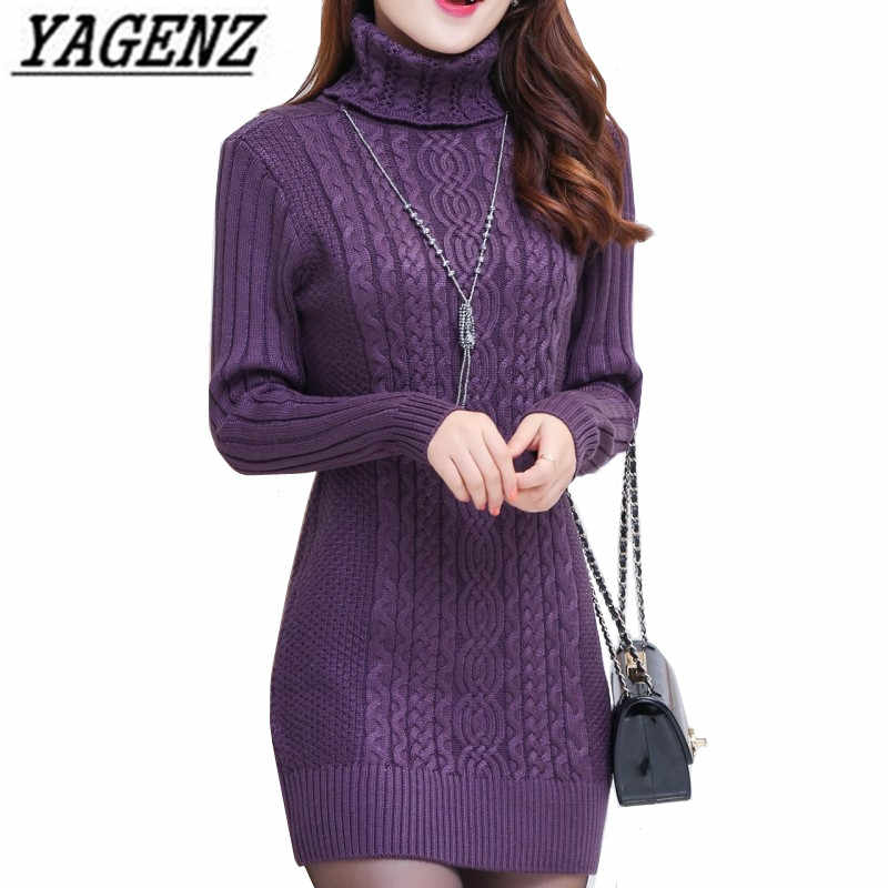 Thicken Turtleneck Sweater Medium Long Pullover Women Clothing Autumn Winter New Solid Loose Knit Warm Sweater Female Casual Top