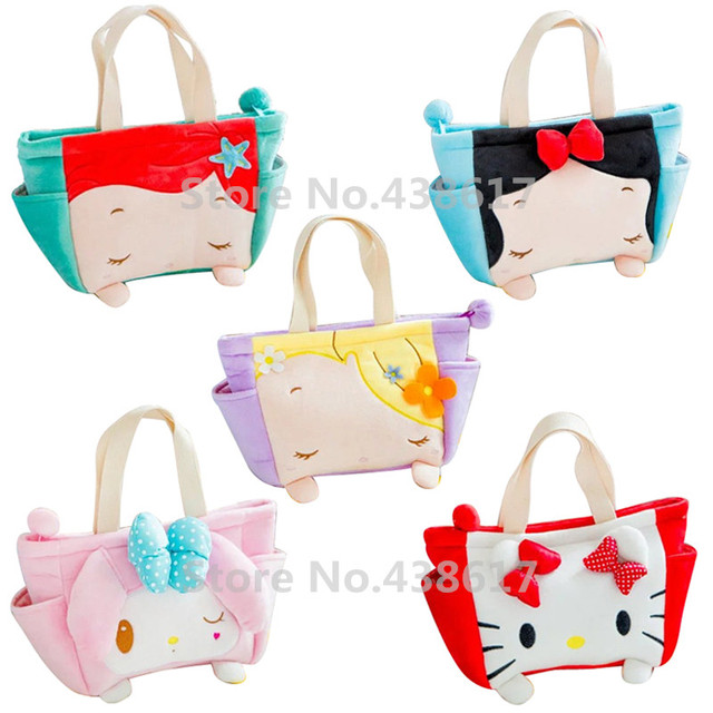 4e2e815914a Tsum Tsum Plush Lunch Bag Box for Kids Rapunzel Little Mermaid Snow White  Princess Hello Kitty Children Girls Handbag Tote Bags