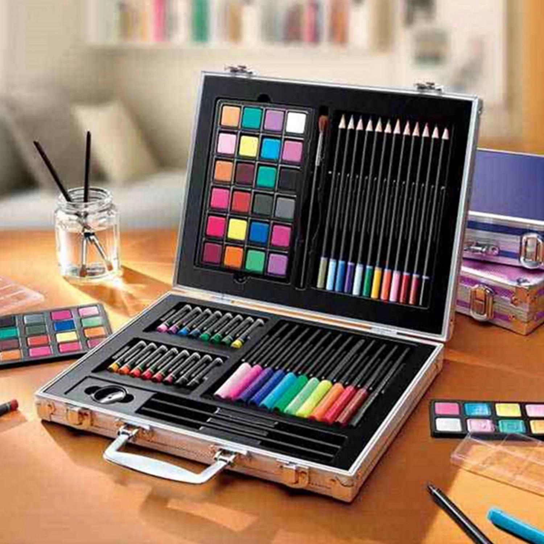 ARTOYS Art Set Kids,173 Pcs Aluminium Case Artist Set for Drawing Painting Kit,Coloured Pencil,Watercolour Paints,Crayons,Oil Pastels,Acrylic,Markers,Craft Art Case Gifts for Kids Children Students