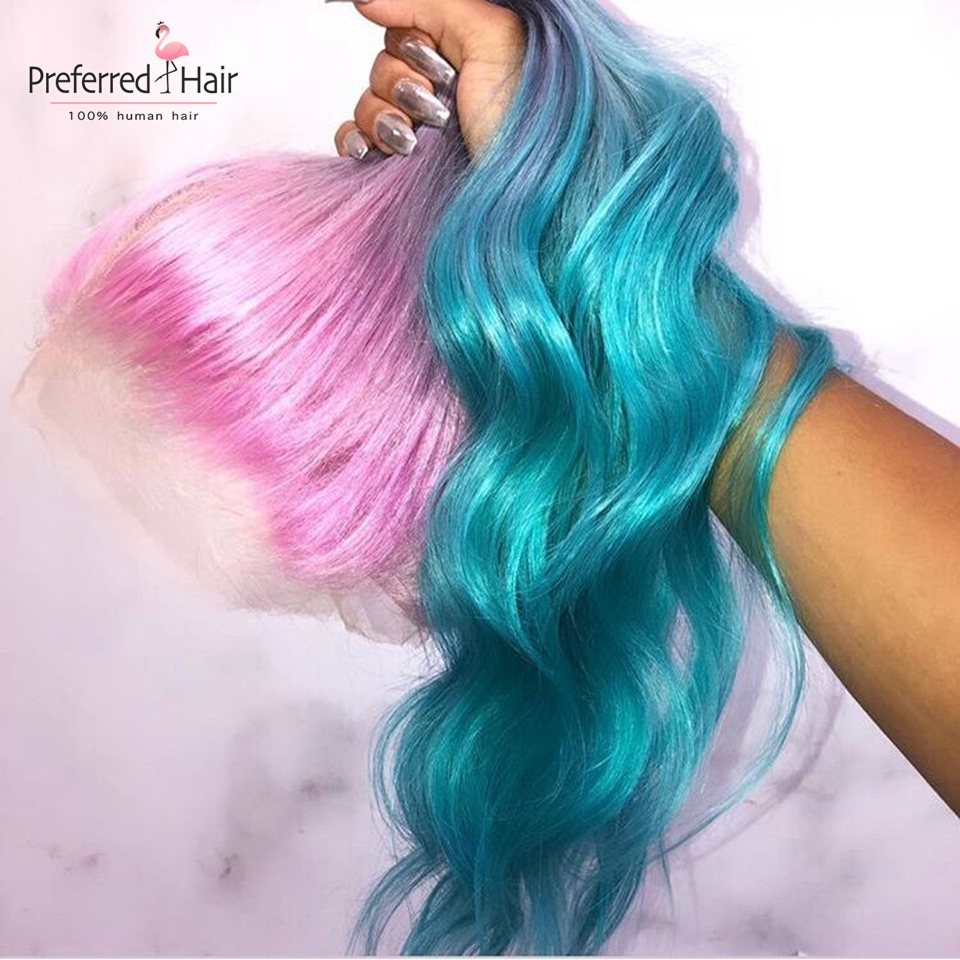 Preferred Pink Human Hair Wig Brazilian Remy Wavy Lace Front Wig With Baby Hair Preplucked Glueless Ombre Wigs For Black Women