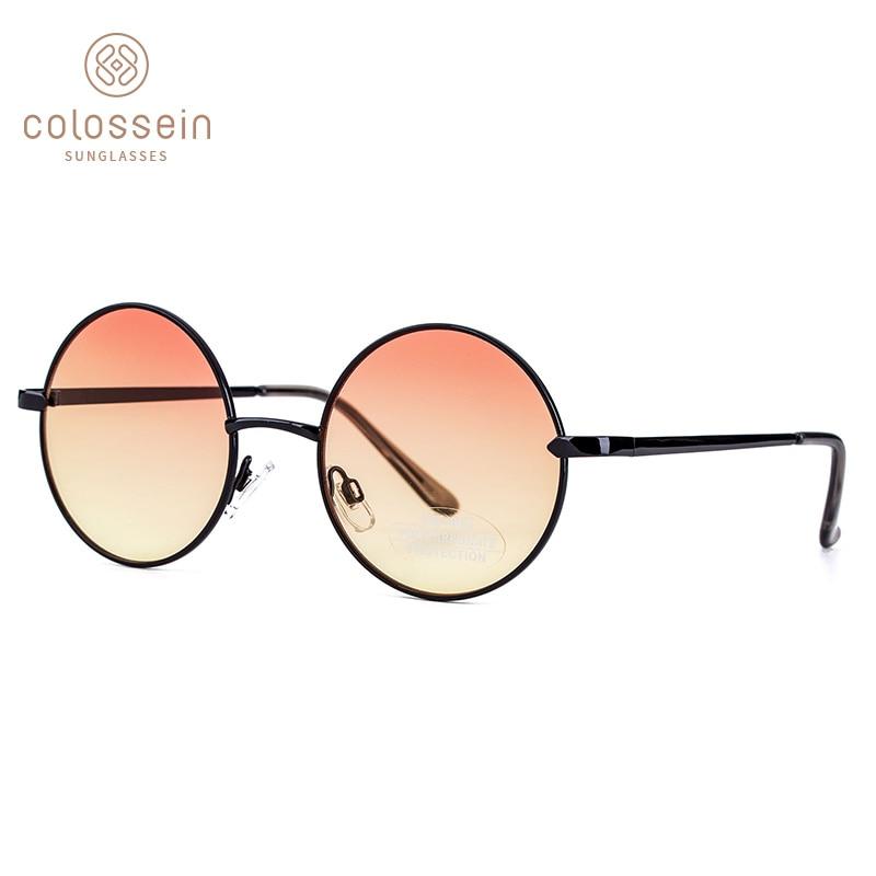 Sunglasses women fashion crystal round gradient sun glasses men double nose bridge metal frame eyewear style uv400