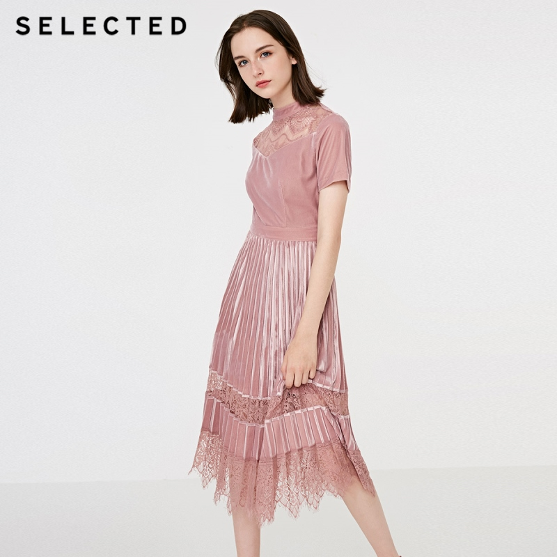 SELECTED Autumn and Winter New Lady s velvet lace pleated medium length dress S 41842J507