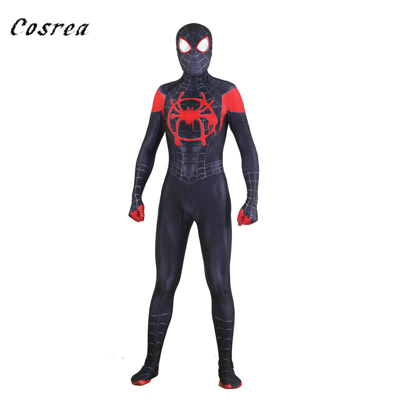 Spider Man: Into The Spider-Verse Miles Morales Peter Parker Gwen Stacy Spiderman Suit Zentai Cosplay Costume for Kids Women Men