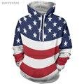 Revestimento do hoodie do hip hop dos homens 3d impressão bandeira das listras das estrelas de cinco pontas-de moda clothing hoodies camisolas suores tatuagem casacos