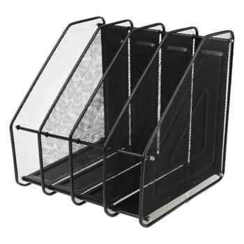 4 Column Metal Mesh File Holder Document Rack Letter Magazine Newspaper Tray for Desk Organizer Home Office Supplies - DISCOUNT ITEM  17% OFF All Category