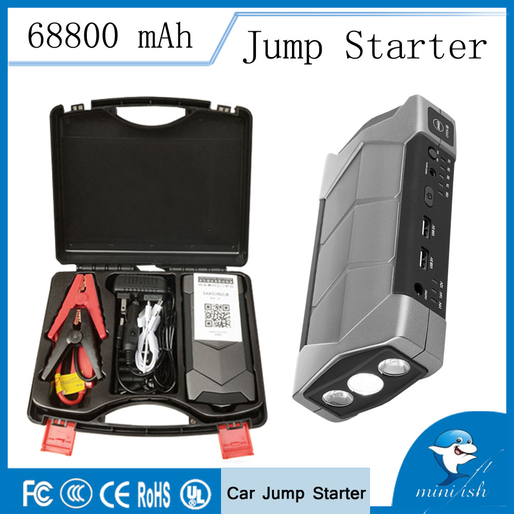 Nuovo Modello di Vendita Calda MiniFish 68800 mah Multi Funzione Auto Salto di Avviamento Caricabatteria per Auto Portatile