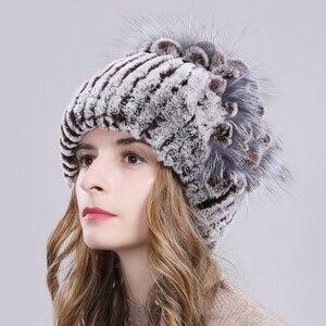 Image 5 - Russia Women Real Rex Rabbit Fur Hats Outdoor Elastic Knitted 100% Genuine Rex Rabbit Fur Cap Winter Warm Real Fur Beanies Hat