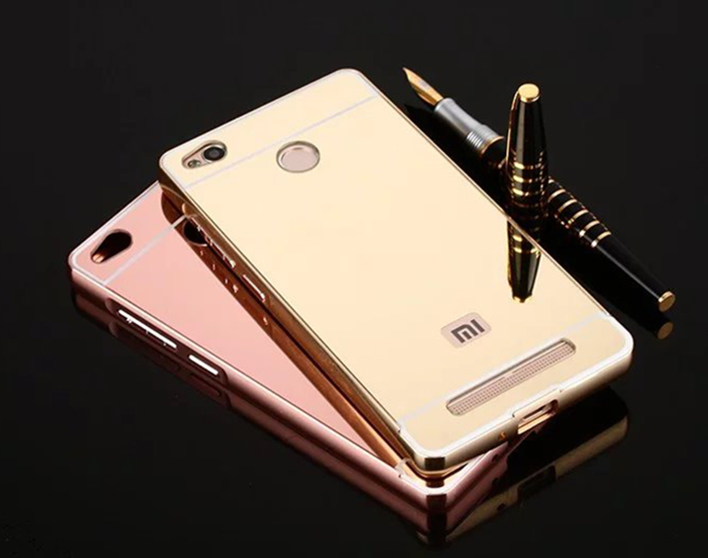 For Xiaomi Redmi 3 Pro / 3s Mirror Back Cover Case & Aluminum Metal Frame Set Hot Phone Bag Cases Coque For Redmi3 Pro xiomi 3 s