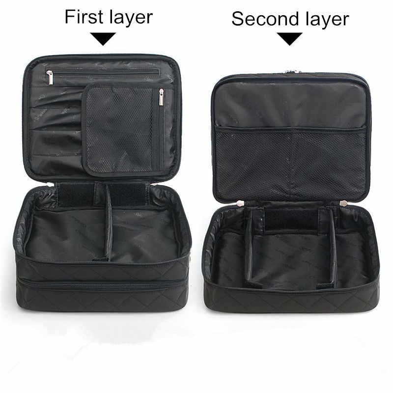 FullLove 25*11*20 cm 2 Camadas de Cosméticos Caixa de 2018 Xadrez Preto saco Zip Lock Underwear Bra Organizador de Maquiagem Caixas De Armazenamento de viagem & Bins