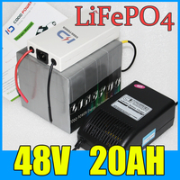 48V 20AH LiFePO4 Battery Pack 1000W Electric Bicycle Scooter Lithium Battery BMS Charger Free Shipping