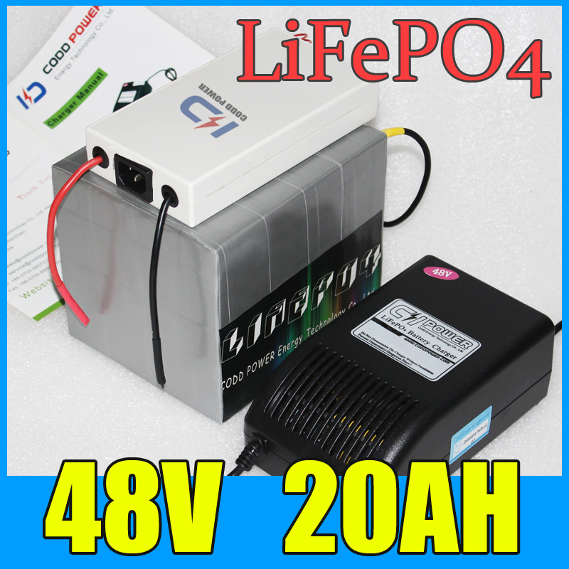 lifepo4 48v 20ah battery pack ,1000W electric bicycle Scooter lithium battery + BMS + Charger , Free Shipping 2016 free customs taxes super power 1000w 48v li ion battery pack with 30a bms 48v 15ah lithium battery pack for panasonic cell