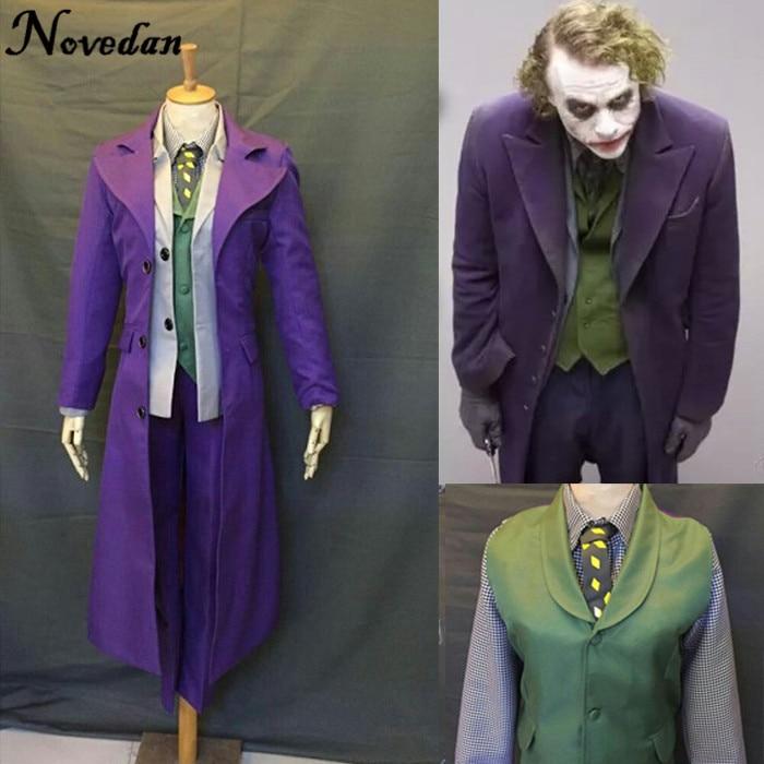 Batman The Dark Knight Joker Costume Full Suit Jacket Coat Shirt Pants Fantasia Men Custom Made