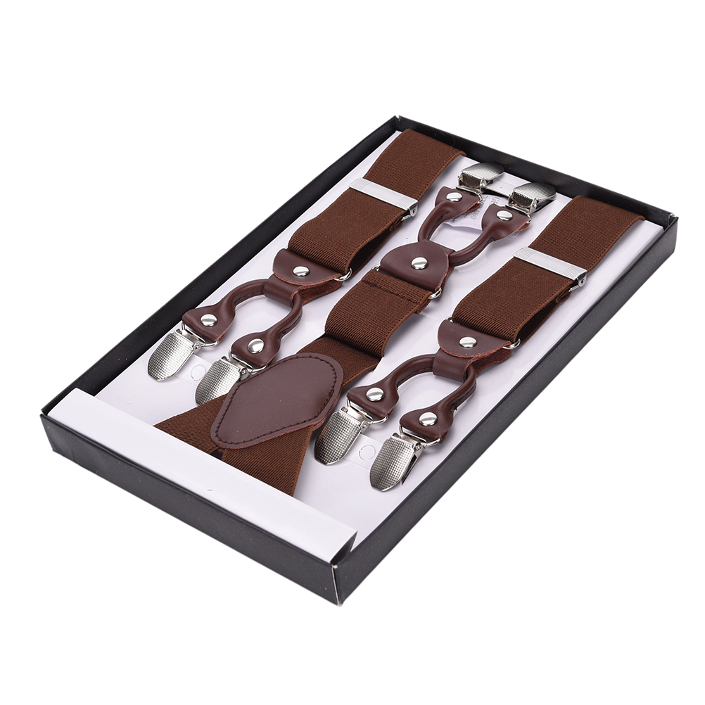 Male Vintage Casual Suspensorio Trousers Strap Fashion Suspenders Leather Alloy 6 Clips Braces Father/Husband's Gift