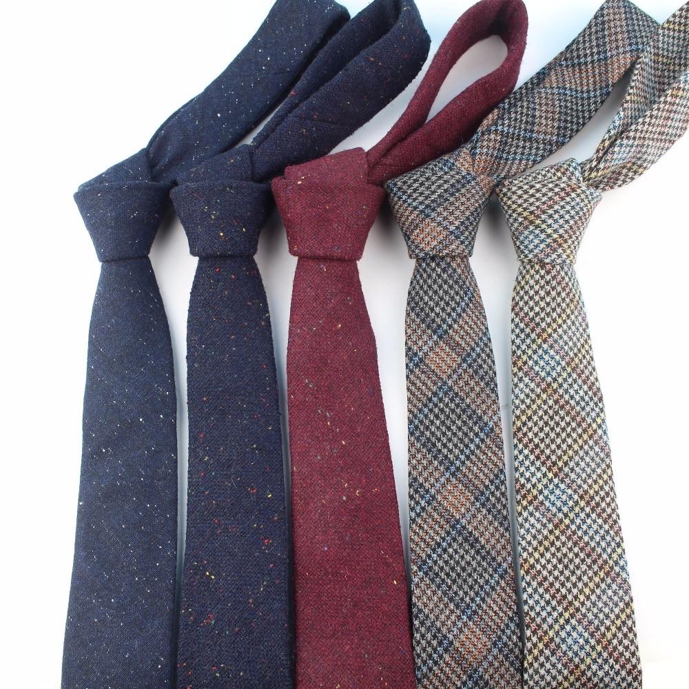 European Men's Wool Necktie Skinny Dot Narrow Knitted Tie Casual Plaid Bow Ties England Cravat 6cm Width