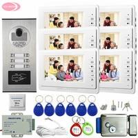 6 Apartments Door Intercoms 7 Color LCD Home Intercoms Video Phone With 6 Screens + Electronic Door Lock Wired Video Door Entry