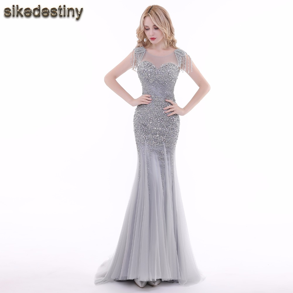 Online Shop Sikedestiny Sequined Gray Pearled Beaded Evening Dresses ...