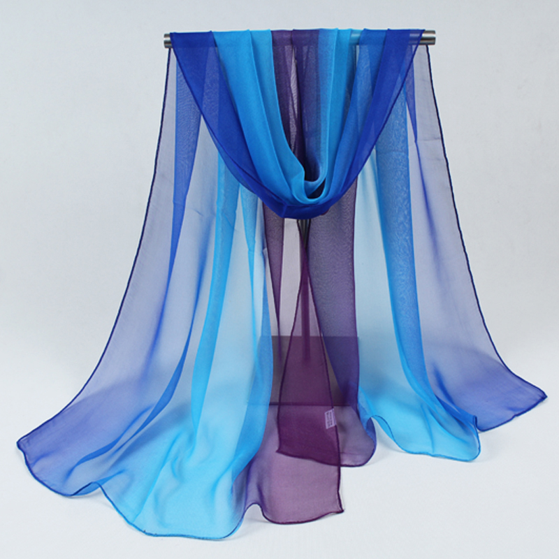 Nice Chiffon Scarf Women High Quality Gradual Colors Chiffon Georgette Silk Scarves Shawl Female Long Design 032