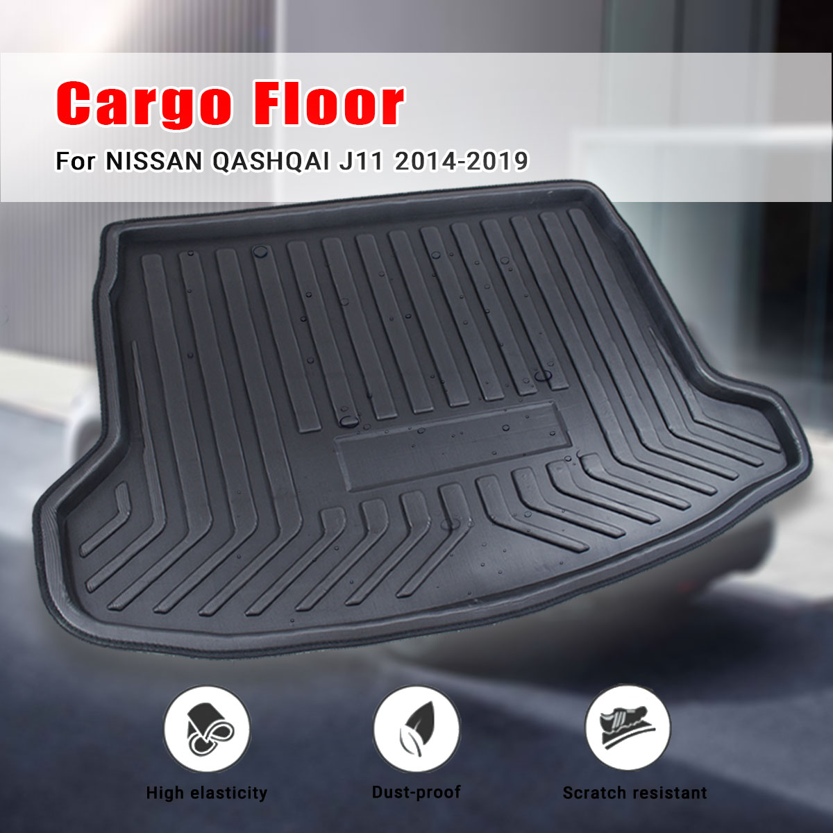 Tray Boot Liner Cargo Rear Trunk Cargo Mat Floor Carpet Mud Kick For Nissan Qashqai Dualis J11 2014 2015 2016 2017 2018 2019