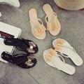 2016 Arco Tanga Sapatos de Geléia Mulher Geléia Flip Flops Senhoras Zapatos Mujer sapatos Femininos New Verão Mulheres Chinelos Planas