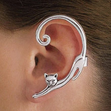 ZCHLGR Single Piece Punk Style Gold Silver Plated Cat Post Earring With Ear Cuff Rock Animal Black Stud Earring Women Ear Wrap
