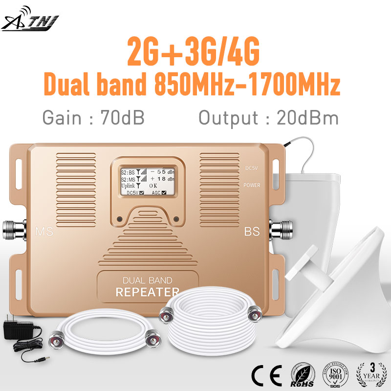 Smart DUAL BAND 2G / 3G + 4G Signál mobilního telefonu Booster 850 / AWS1700 / 2100mhz sada mobilního zesilovače reprosoustav