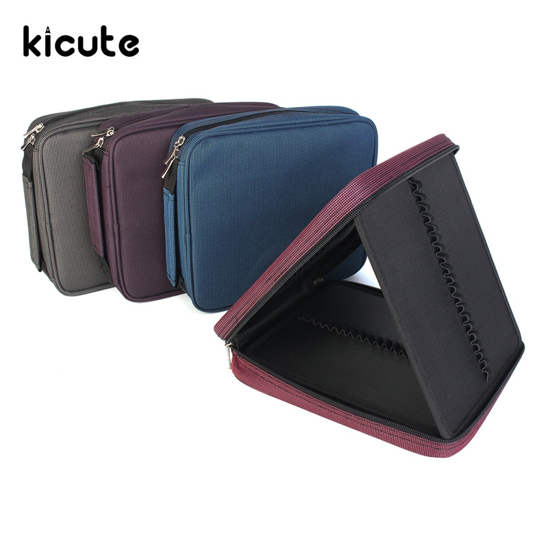 Kicute 120 Slots Large Capacity Oxford Canvas 4 Layers School Pencil Case Pencil Bag Art Marker Pen Holder School Supplies купить